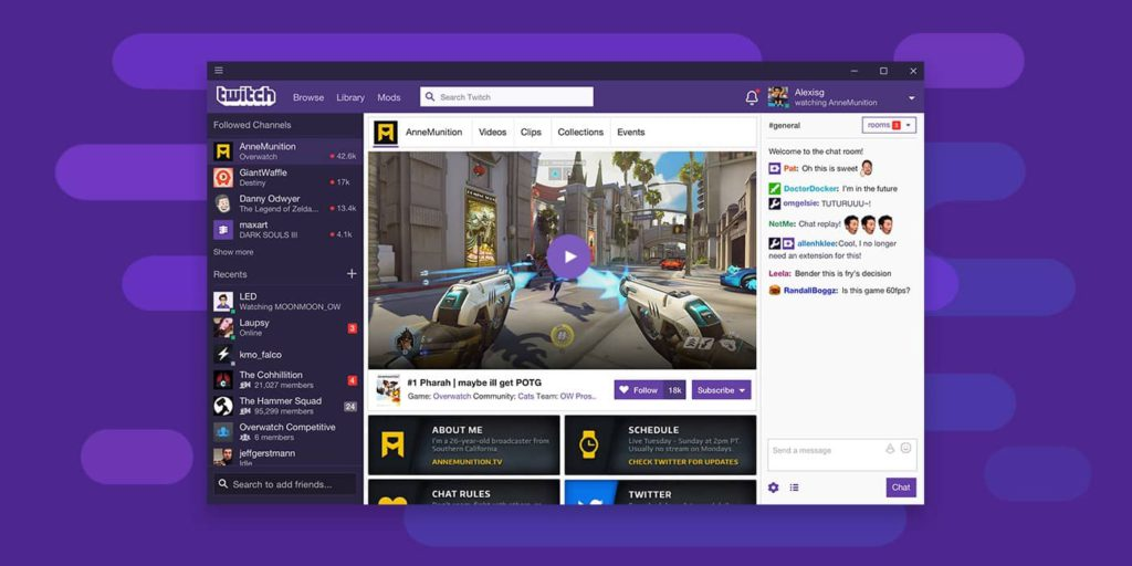 Twitch TV : Main Features